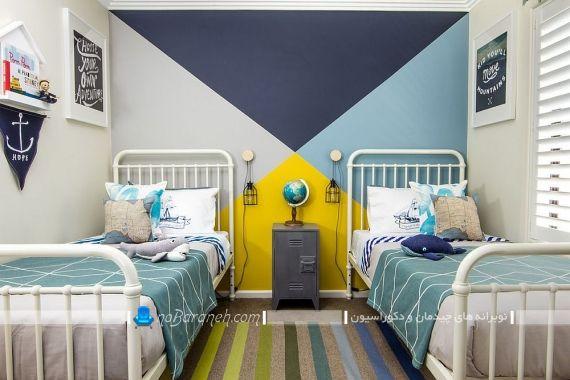 تزیین دیوار اتاق بچه ها با زرد و آبی