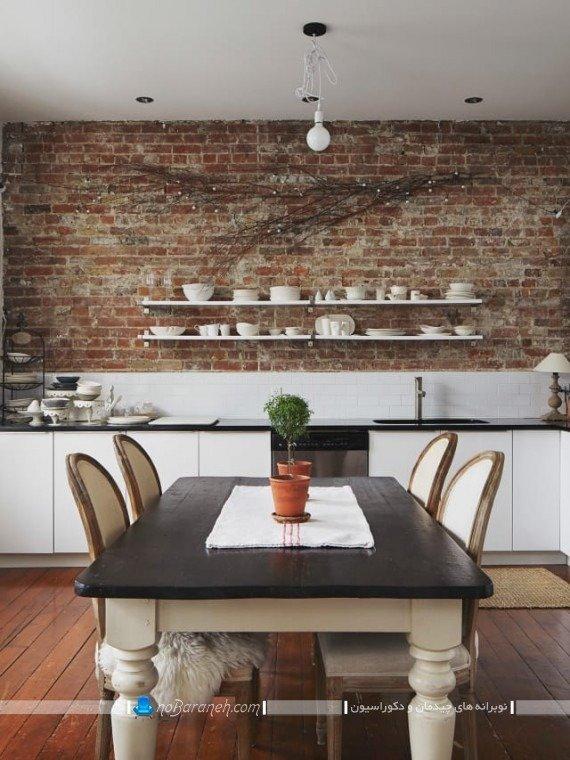 دیزاین و تزیین شیک و ارزان دیوار آشپزخانه با شلف و آجر
