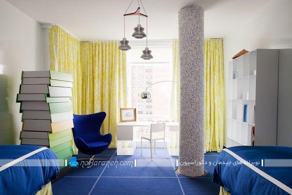 فرش آبی و پرده زرد اتاق کودک