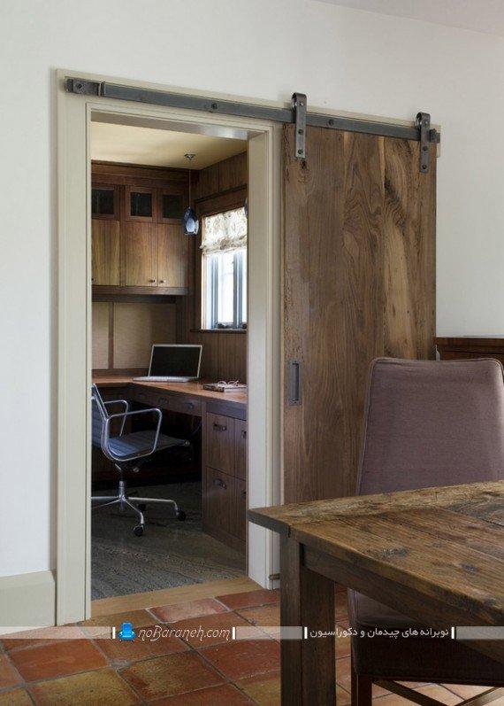 درب چوبی ریلی و ارزان قیمت برای اتاق کار ساختمان