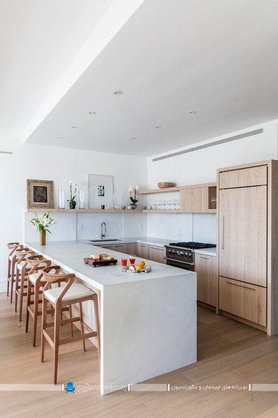 طراحی دکوراسیون مدرن چوبی در آشپزخانه با کابینت mdf
