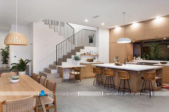 طراحی دکوراسیون مدرن چوبی در آشپزخانه با کابینت mdf با هزینه کم
