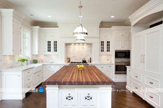 صفحه چوبی و تخته ای کابینت آشپزخانه برای طراحی دکوراسیون چوبی