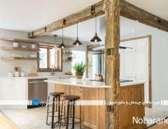 طراحی دکوراسیون چوبی در آشپزخانه مدرن و روستا...