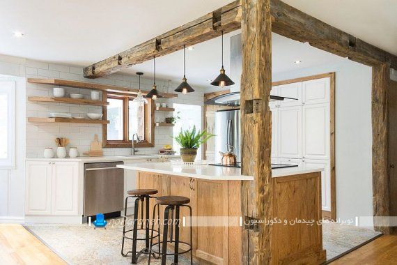 طراحی دکوراسیون چوبی و روستیک آشپزخانه