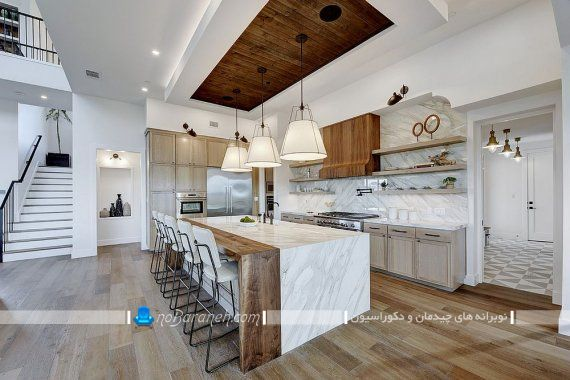 طراحی دکوراسیون چوبی و شیک آشپزخانه