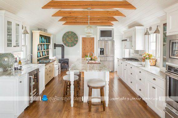 طراحی دکوراسیون چوبی و کلاسیک آشپزخانه