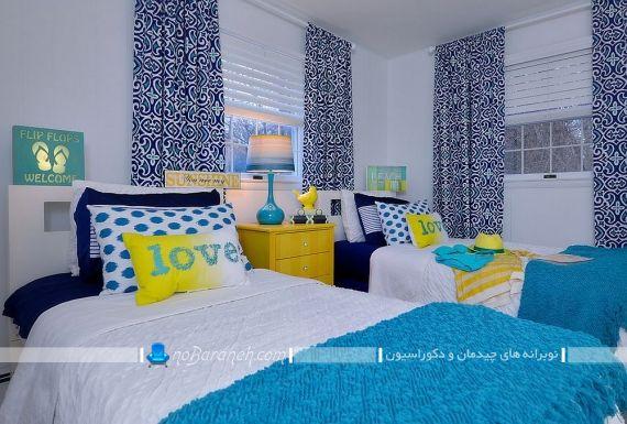 طراحی دکوراسیون اتاق مشترک بچه ها با زرد و آبی
