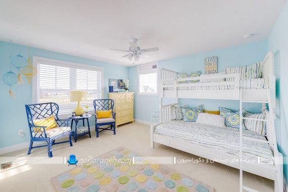 دکوراسیون سلطنتی اتاق کودک با رنگ آبی رنگ اتاق خواب کودک آبی. دکوراسیون شیک مدرن کلاسیک اتاق بچه با رنگ آبی و زرد