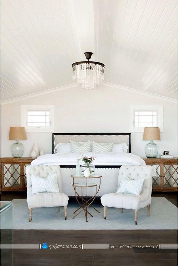 دیزاین اتاق عروس با سفید و طرح چوب به شکل سلطنتی و گران قیمت ، اتاق خواب کلاسیک مدرن