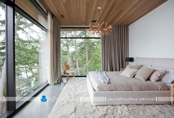دیزاین اتاق عروس با سقف چوبی ، اتاق خواب مدرن عروس. سقف چوبی برای اتاق خواب عروس. مدل های تزیین و دیزاین اتاق خواب با سقف چوبی