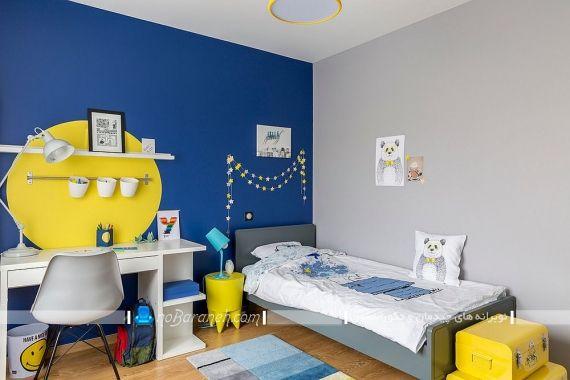 دیزاین شیک و مدرن اتاق کودک با آبی و زرد
