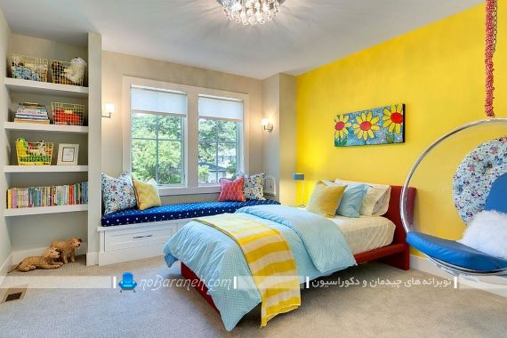دیزاین شیک اتاق کودک با زرد و آبی. طراحی دکوراسیون کلاسیک و سنتی اتاق بچه ها با آبی و زرد. عکس دیزاین و چیدمان اتاق بچه ها به سبک شیک و مدرن با ترکیب رنگی زیبا