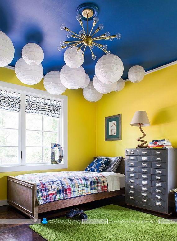 تزیین دیوار و سقف اتاق کودک با زرد و آبی. دیوار زرد رنگ و سقف آبی رنگ اتاق کودک. دکوراسیون اتاق کودک و نوجوان با ترکیب رنگی شیک و زیبا