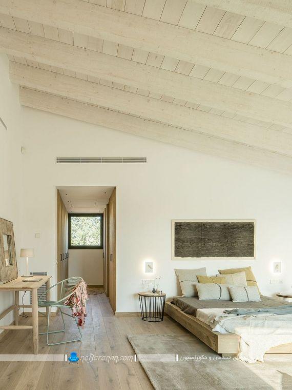 ایده اتاق خواب عروس با دکوراسیون شیک و روستیک. تزیین اتاق خواب با سقف و کفپوش چوبی. دیزاین اتاق عروس با طراحی مدرن شیک جدید با صفحه های چوبی ام دی اف mdf