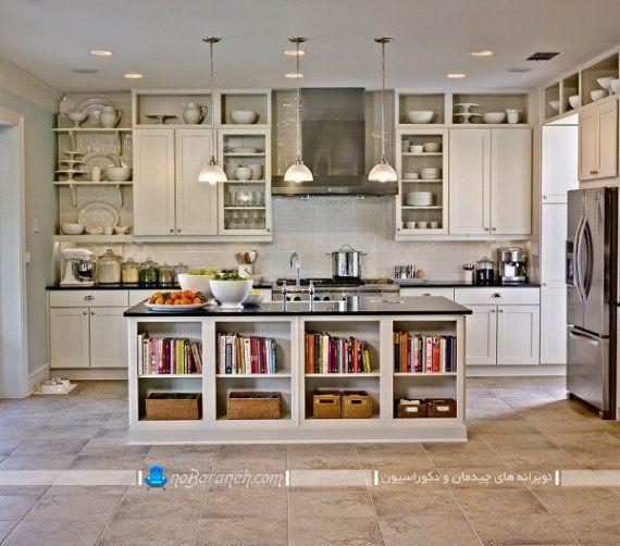 نصب ویترین و باکس های دکوری روی میز اپن و جزیره، تزیین آشپزخانه با هزینه کم و قیمت ارزان