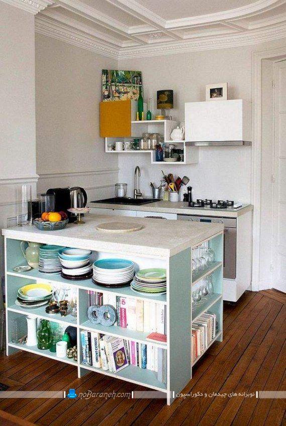 فضاسازی در آشپزخانه با میز اپن شلف دار