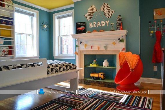 دیزاین دیوار و سقف اتاق کودک با زرد و آبی. ترکیب رنگ زرد و آبی رد اتاق بچه ها کودکان نوجوانان