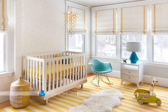دکوراسیون کلاسیک و شیک اتاق نوزاد با زرد و آبی. رنگ آمیزی شیک اتاق نوزاد زرد و طلایی. دکوراسیون و دیزاین تزیین شیک مدرن اتاق بچه ها با سفید و طلایی