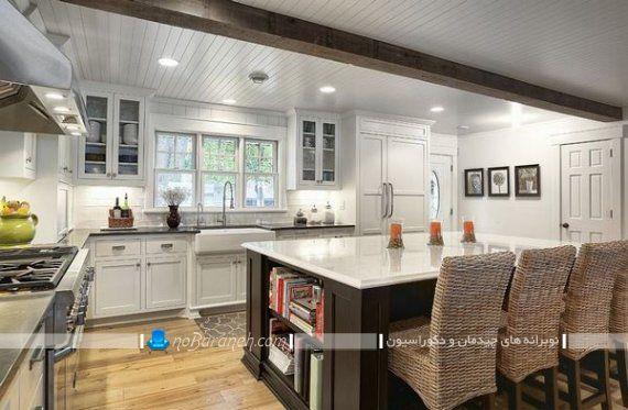 میز اپن و جزیره آشپزخانه در مدل کتابخانه دار و طاقچه دار