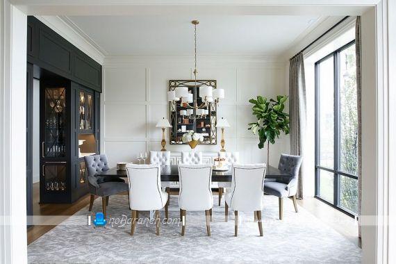 روشنایی روی میز ناهار خوری با طرح کلاسیک و سلطنتی