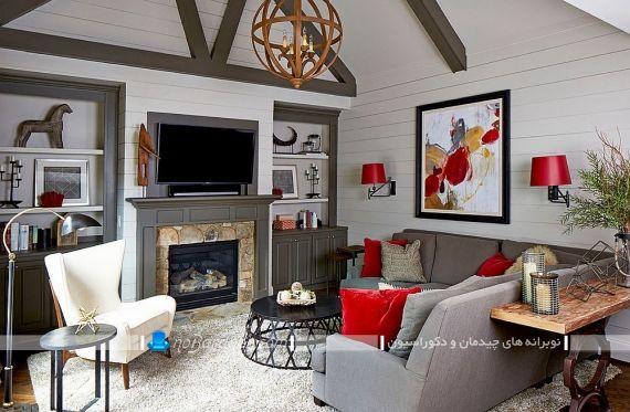 دیزاین و طراحی دکوراسیون اتاق پذیرایی با رنگ خاکستری