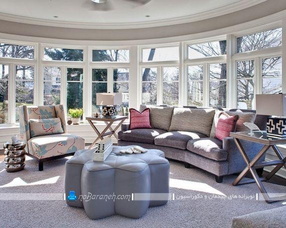 دیزاین اتاق پذیرایی با رنگ خاکستری