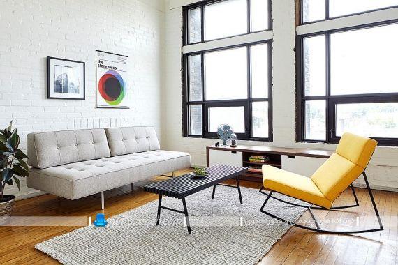 رنگ آمیزی و دکوراسیون اتاق پذیرایی با طوسی و زرد