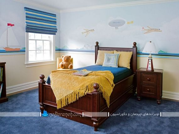 طراحی دکوراسیون کلاسیک اتاق بچه با تخت خواب و تزیینات ارزان قیمت. رنگ اتاق بچه پسر رنگ اتاق بچه گانه رنگ اتاق بچه ابی