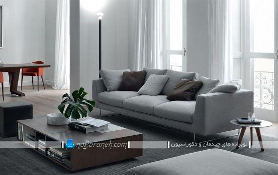 چیدمان کاناپه خاکستری رنگ