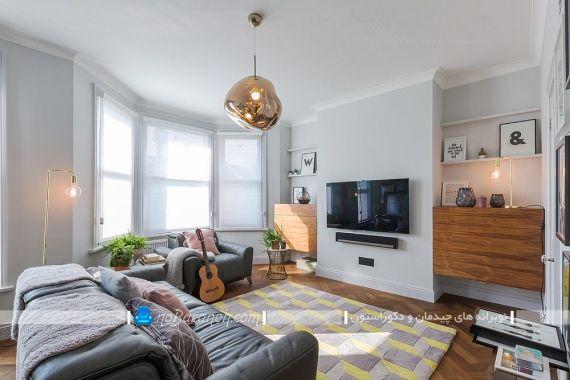 دیزاین اتاق پذیرایی و نشیمن با مبل خاکستری رنگ