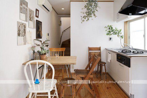 میز ناهارخوری کمجا و کوچک ارزان قیمت. ناهارخوری کوچک و چوبی برای آَشپزخانه نقلی با طراحی کمجا و شیک با صندلی های چوبی