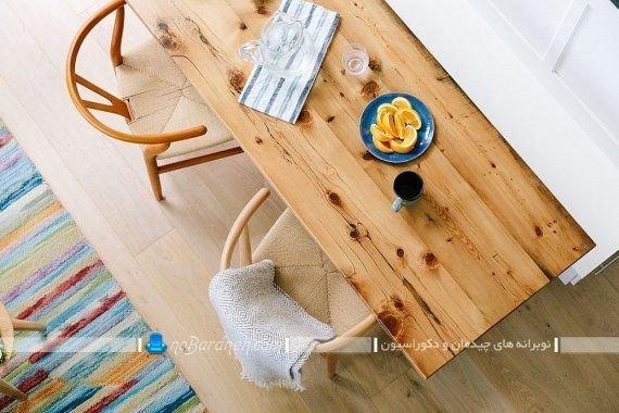 میز ناهارخوری مدرن دو نفره و چوبی. مدل های جدید و شیک میز ناهار خوری کوچک چوبی دو نفره با صندلی چوبی و فانتزی مدرن