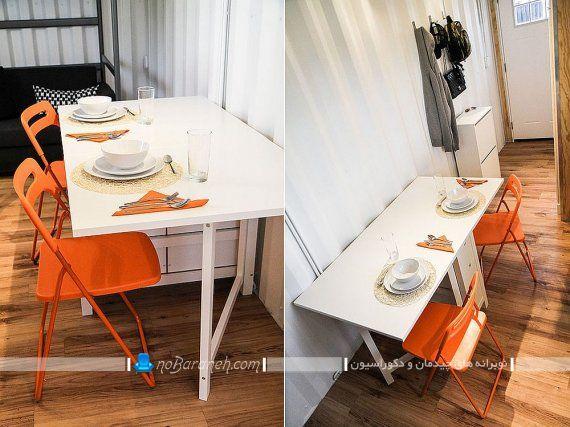 میز نهارخوری کوچک چوبی و دو نفره تاشو. میز ناهار خوری تاشو چوبی و کمجا با طراحی جدید و سفید رنگ دو نفره