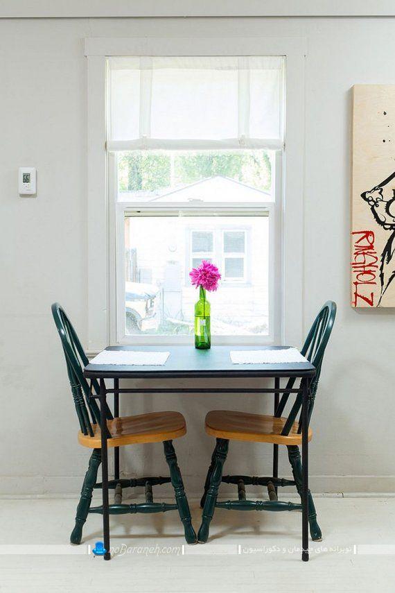 میز ناهارخوری کوچک و ساده چوبی. مدل جدید و شیک میز ناهار خوری کوچک دو نفره کمجا برای منزل و آشپزخانه کوچک