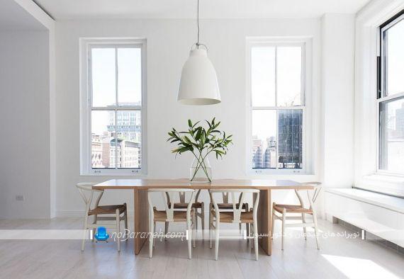چراغ آویز روی میز ناهارخوری