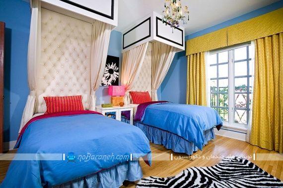 مدل پرده زرد رنگ برای اتاق کودک. دکوراسیون شیک اتاق کودک با رنگ زرد آبی. دکوراسیون سلطنتی و مجلل اتاق کودک دو قلو