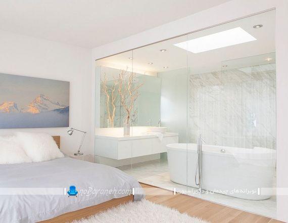 مدل کفپوش چوبی اتاق خواب در کنار رنگ سفید ، طراحی اتاق خواب عروس و داماد. دیزاین اتاق خواب مستر با چوب و شیشه. طراحی مدرن و جذاب اتاق خواب عروس و داماد با طراحی جدید و مدرن