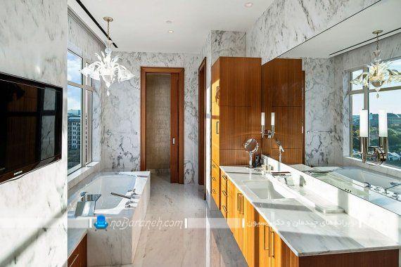 مدل کابینت های چوبی برای حمام های بزرگ