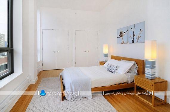 مدل کفپوش چوبی اتاق خواب در کنار رنگ سفید ، دکوراسیون اتاق خواب عروس و داماد. تزیین اتاق خواب عروس با رنگ سفید و طرح چوب. سرویس خواب و کفپوش چوبی هم رنگ برای اتاق عروس