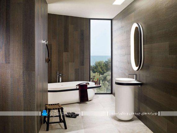 دیوارپوش چوبی برای تزیین حمام و دستشویی
