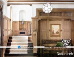 تزیین راه پله ساختمان با فرش و موکت ساده و طر...