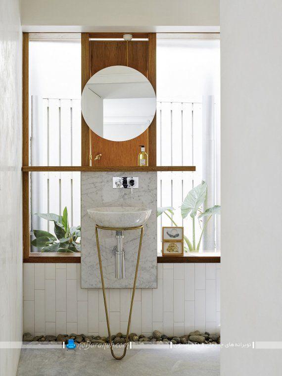 طراحی دکوراسیون شیک و ارزان حمام و روشویی با رنگ سفید و طرح چوبی