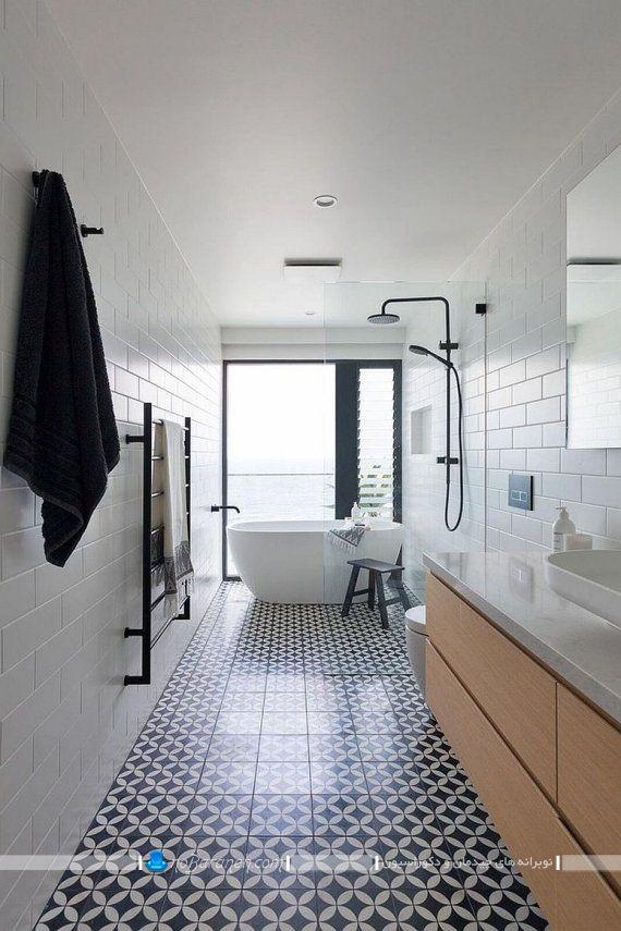 تزیین سرویس بهداشتی با سفید و طرح چوب