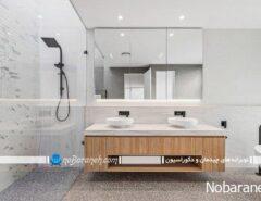 ترکیب طرح چوب و رنگ سفید در سرویس بهداشتی