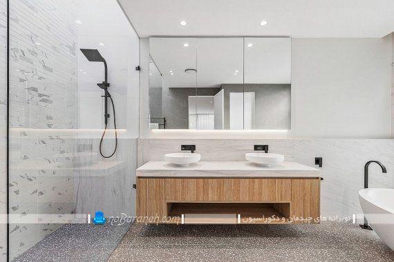 تزیین مدرن سرویس بهداشتی با طرح چوب و رنگ سفید