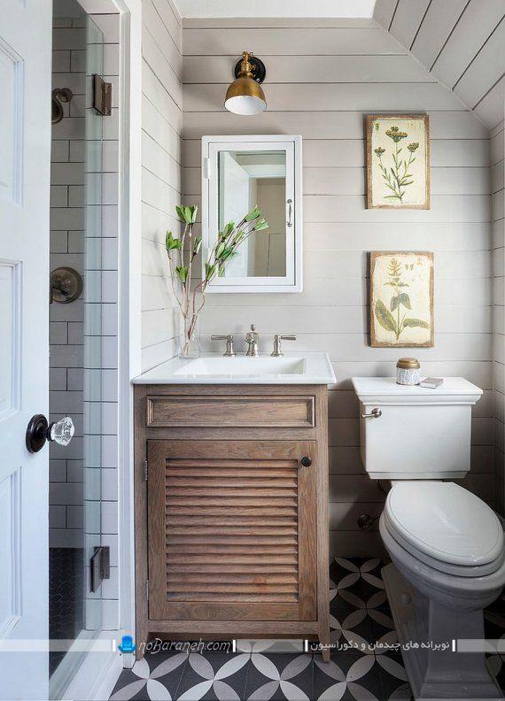 طراحی دکوراسیون حمام و روشویی با رنگ سفید و طرح چوبی
