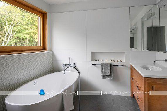 دیزاین چوبی سرویس بهداشتی و ترکیب با رنگ سفید