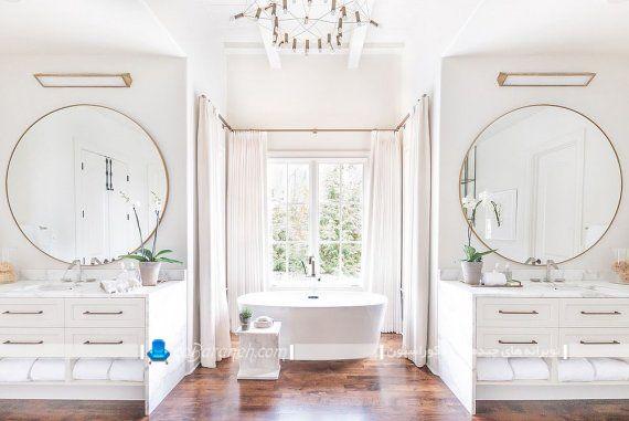 تزیین حمام و توالت با کرم و قهوه ای در کنار سفید با هزینه کم و ارزان