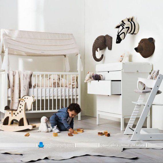 طرح جدید تخت خواب نوزاد با رنگ سفید